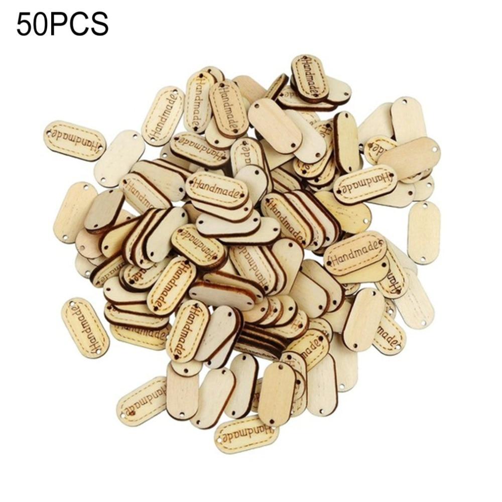 """50 unids/set de botones de madera pequeños grabados """"hechos a mano"""" DIY 2 agujeros de costura Signboard botón de madera herramienta de costura para el hogar"""