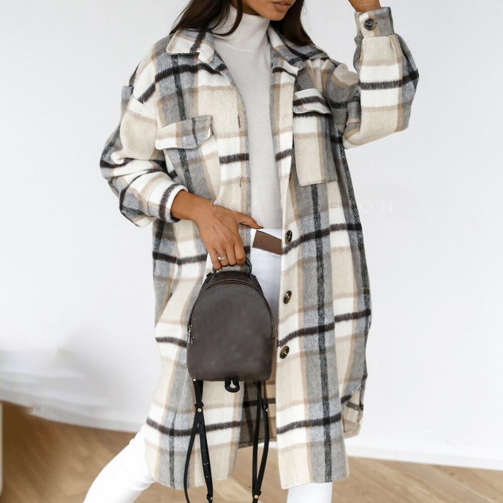 Женская длинная рубашка в клетку, повседневное однобортное пальто с отложным воротником и принтом, Осень-зима 2021