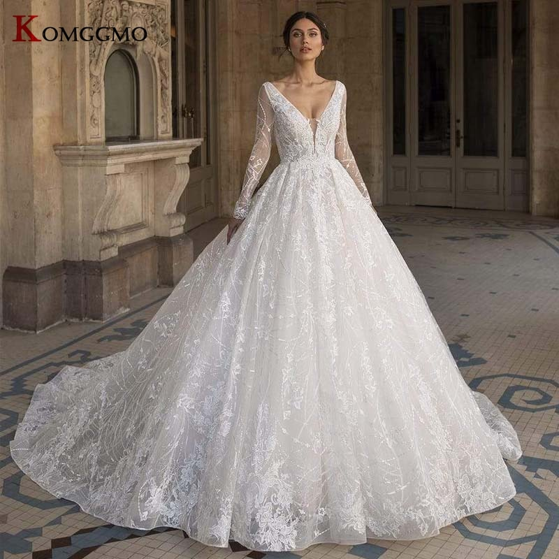 Review Luxury V-Neck Full Sleeve Chapel Train Zipper Back Bridal Ball Gown Custom Made Embroidery Appliques Tulle Wedding Dress