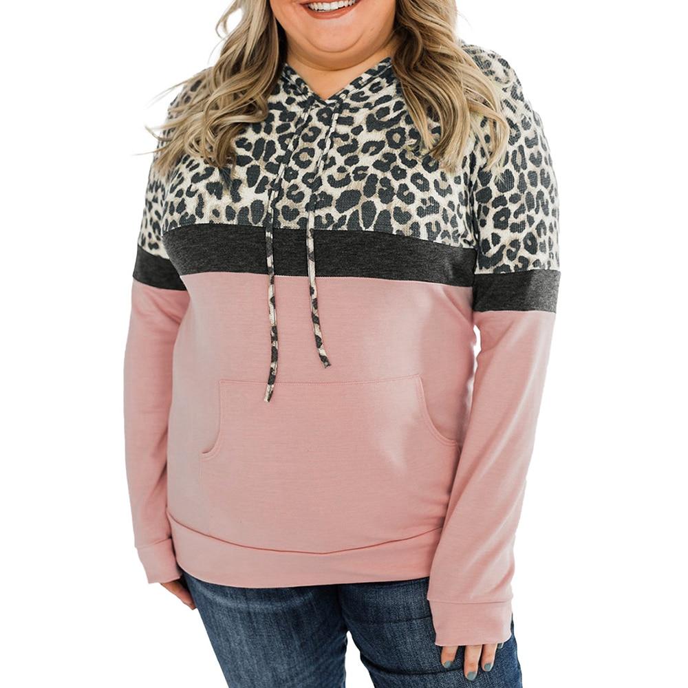 Plus Size Hoodie Sweatshirts 2021 Autumn Long Sleeve Women Casual Hoodies Fashion Ladies Leopard print Sweatshirts 3XL 4XL 5XL