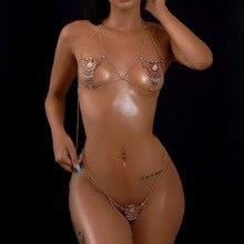 Luxe Crytal Bikini Body Chain Harness Voor Vrouwen Sexy Lingerie Keten Bling Strass Bh En String Set Sieraden