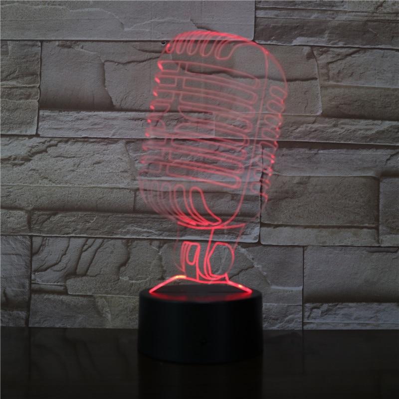 Modelo de microfone 3d ilusão visual lâmpada led night light 7 cores noite lâmpada para café bar decoração canto festa presente dropship 3470