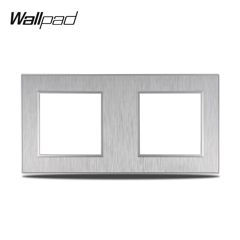 Wall pad S6 لتقوم بها بنفسك لوحة فضية مزدوجة نحى الكمبيوتر البلاستيك ل مقبس مفاتيح كهرباء حائط تقليد الألومنيوم لوحة تركيبة مجانية ، 172*86 مللي متر