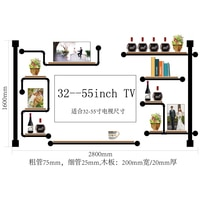 CF2 Antique Design Wine Rack Made Of Pine Wood And Iron Pipe\\\\Audio Shelf rack Home Media Component Shelf Rack TV Cabinet