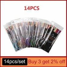 Juego de agujas de tejer circulares de tubo inoxidable, aguja de tejer de 2,25-10mm, 14 tamaños, 40-120CM, 12 agujas de costura de tejido DIY