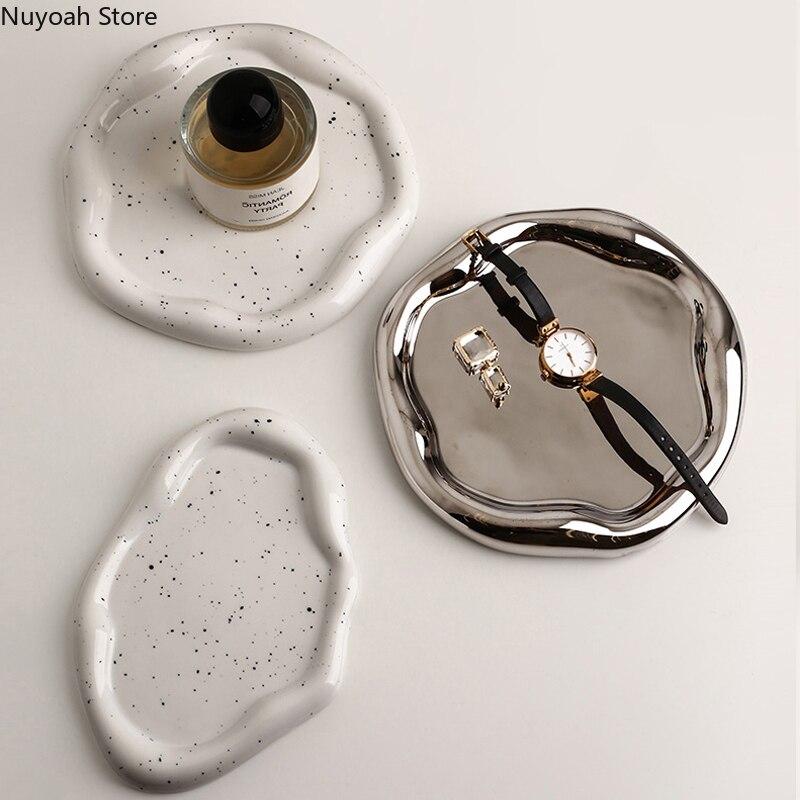 الحديث السيراميك الفضة مطلي لوحة سطح المكتب الديكور الإبداعية الفن الحبر نقطة صينية تخزين المطبخ غرفة المعيشة الديكور لوحة