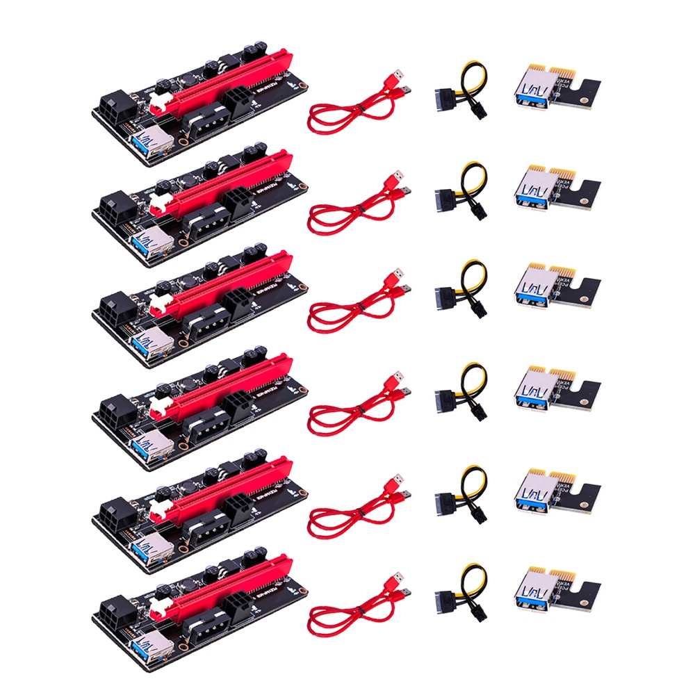 VER009S PCI-E Riser Card Dual 6Pin Adapter Card PCIe 1X to 16X Extender Card USB 3.0 Data Cable for BTC Mining Miner