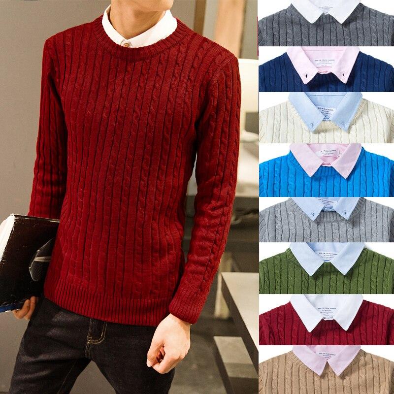 Crewneck Twist Pattern Sweater for Fall Teens Fashion Pullover Clothing Mens Korean Harajuku Trends Streetwear Retro Knit Jumper wave pattern open knit jumper
