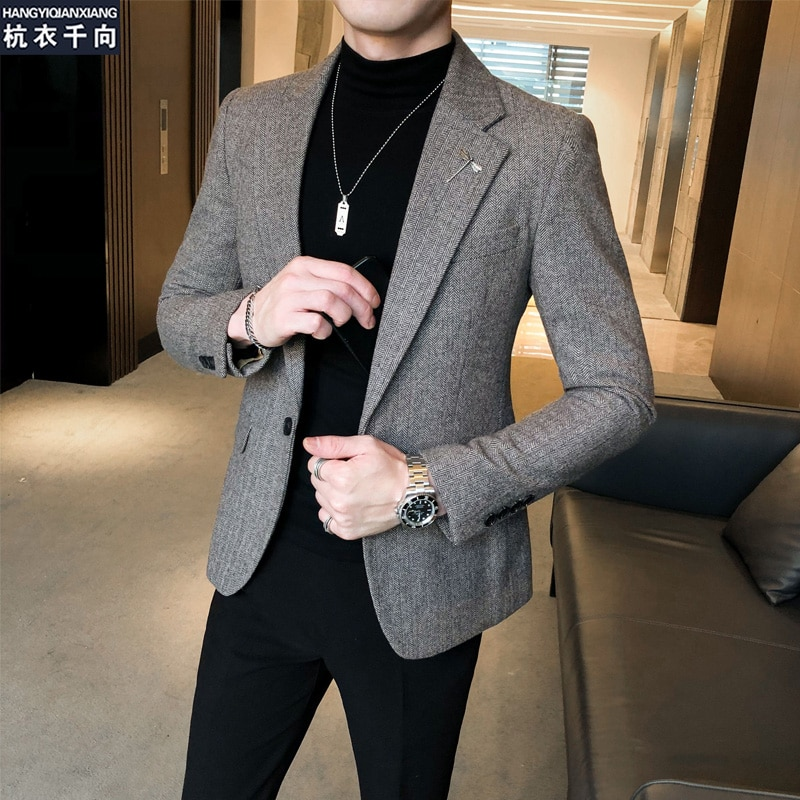Chaqueta de manga larga para hombre, moda coreana, informal, holgada, Vintage, alta...