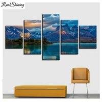 Peinture murale modulaire en diamant  5 pieces  paysage de montagne  brouillard  nuage  lac  decoration de maison  mosaique  FS7304