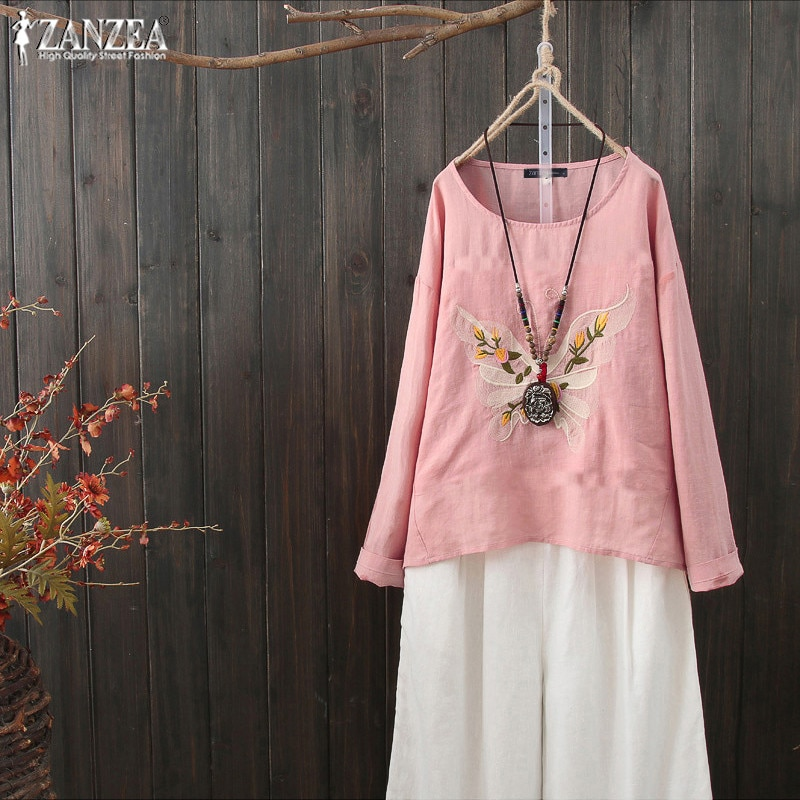 2019 ZANZEA Vintage Embroidery Tops Womens Casual Blouse Kaftan Long Sleeve Shirts Female O Neck Blusa Plus Size Tunic Chemise