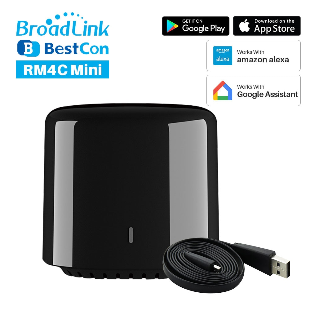 2020 nuevo controlador Broadlink marca BestCon RM4C Mini Universal controlador remoto IR transmisor IR de casa inteligente trabaja con Alexa de Google
