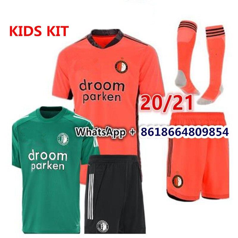 Crianças kit 20 21 feyenoordes camisa de futebol kokcu berghuis camisa de futbol jorgensen verde cinza laranja 2020 2021 camisa de futebol