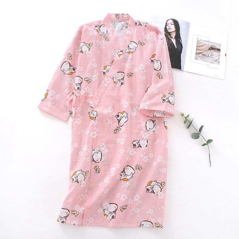 Pijamas japoneses, Kimono de verano para mujer, albornoces para mujeres, cárdigan Yukata de algodón de manga larga, ropa para el hogar, servicio de sudor