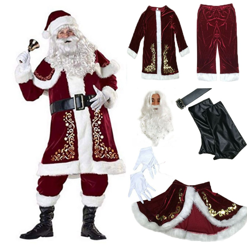 baby costume set 0 2y santa elf climb clothes sets boys gilrs christmas rompers overalls roupas santa claus jumpsuits and hat Adult Christmas Costume 9Pcs Velvet Deluxe Santa Claus Father Cosplay Suit Fancy Dress Full Set Cosplay Christmas Sets