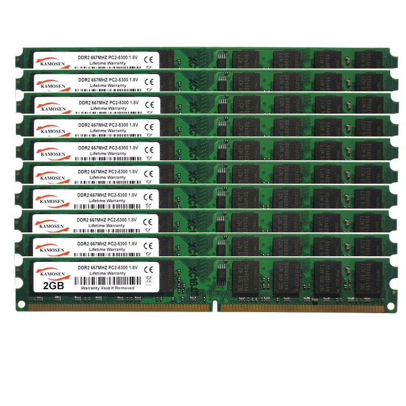 ذاكرة الوصول العشوائي لسطح المكتب ، 2 جيجابايت DDR2 ، 667 ميجاهرتز ، خافت ، جهد 200 فولت ، 10 قطعة ، علامة تجارية جديدة ، PC2 5300U ، 1.8 دبوس