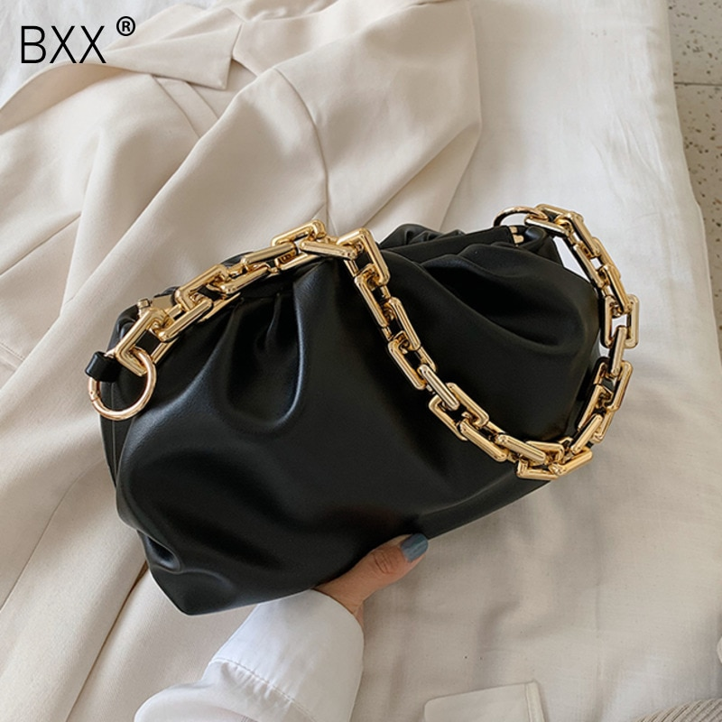 [BXX] Gold Chain Shoulder Bags For Women 2021 Luxury Cloud Bag Female Crossbody Messenger Handbags Lady Party Clutch HM112