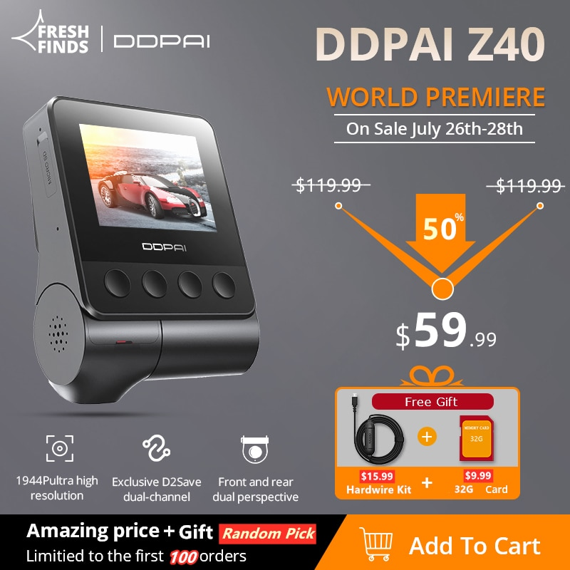 DDPAI Z40 Dash Cam Dual Car Camera Recorder Sony IMX335 1944P HD Video GPS Tracking 360 Rotation Wifi DVR 24H Parking Protector
