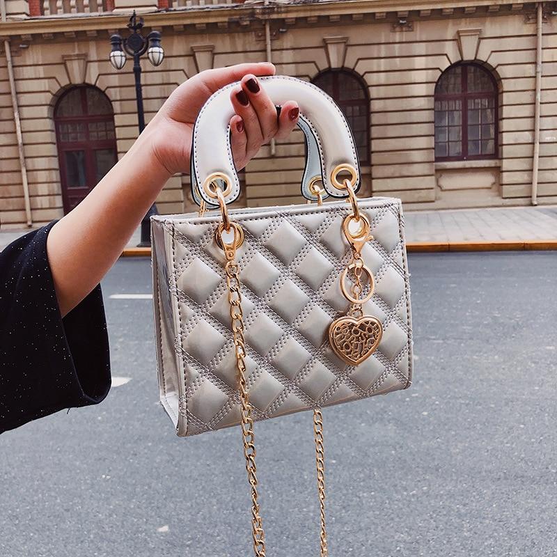 Luxury Brand Tote bag 2021 Fashion New High Quality Patent Leather Women's Designer Handbag Lingge Chain Shoulder Messenger Bag