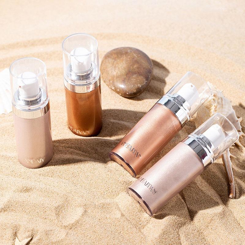 Brillo cuerpo Luminizer bronceador resaltador líquido ajuste Spray Brillo realzar maquillaje ZG88