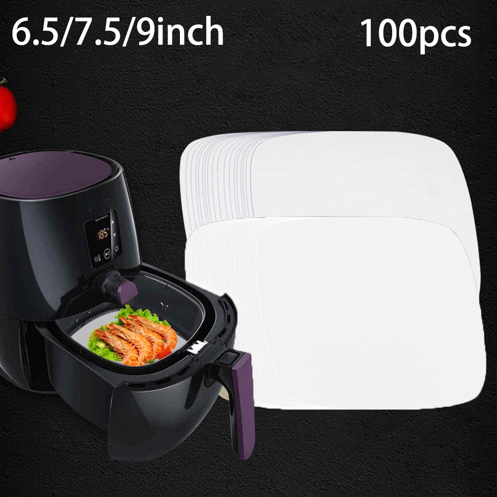 100Pc Air Fryer Steamer Liners Premium Wood Pulp Papers Baking Paper Oven Non-Stick Square Steaming Basket Mat Cooking Tools 500pcs round 1000pcs square steamed bun papers non stick household snack bread cake steamer oil paper pads