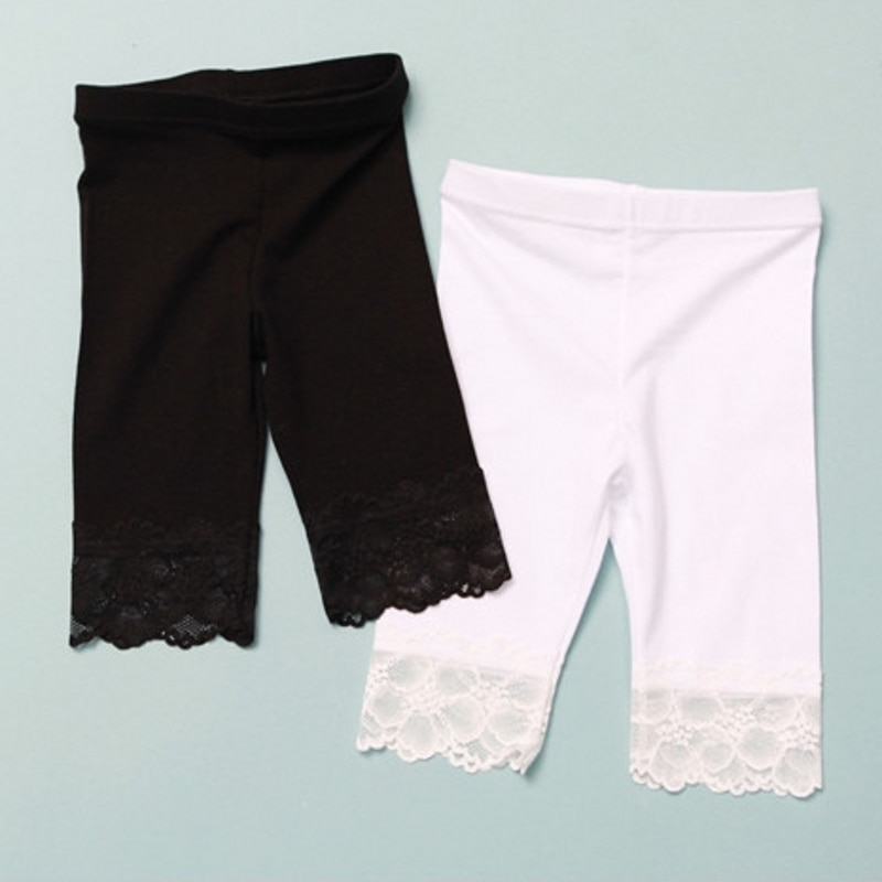 AliExpress - New Fashion 2021 Summer Black White Girls Leggings Pants Lace cotton Children Clothing Flower Girl Knee Pants
