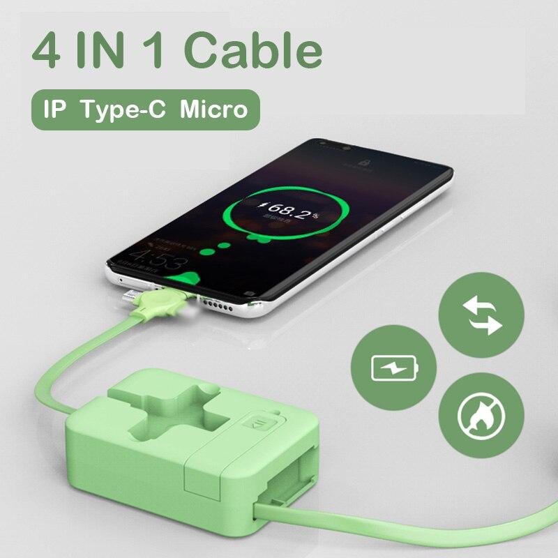 Cable de carga USB tipo C retráctil 4 en 1 para iPhone...