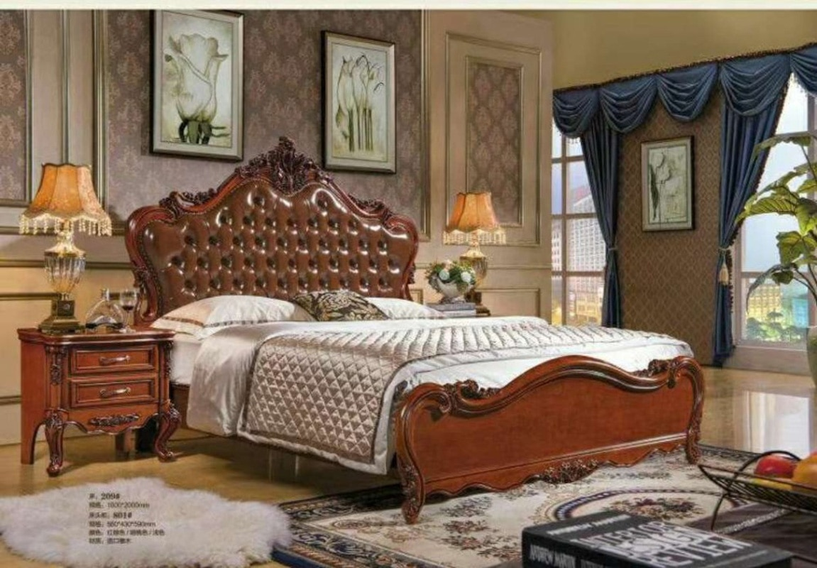 سرير عالي الجودة 2 شخص موضة أوروبية فرنسية منحوتة سرير فرنسي cstm0089