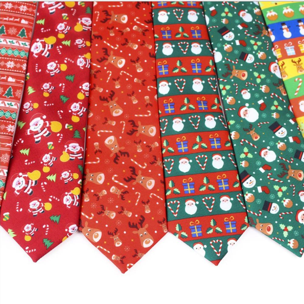 3Pcs Hot Sell Christmas Tie Men's Fashion Casual Snowflake Print Polyester Neck Ties For Man Christmas Pattern Necktie