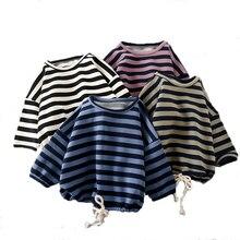 Jesień jesień Boys Baby dziewczyny bluzy dzieci Stripe topy koszulki z długim rękawem maluch dzieci swetry Casual ubrania dla dzieci wiek 1-4 lat