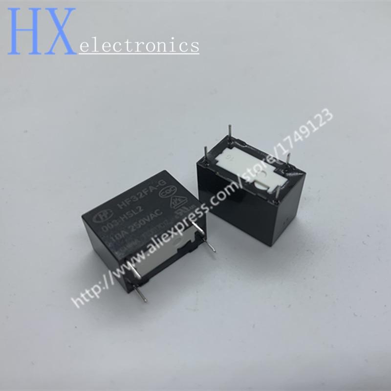 Free shipping 2PCS HF32FA-G-003-HSL2 Relays HF32FA-G-3V-HSL2 4-Pin Normally Open 10A
