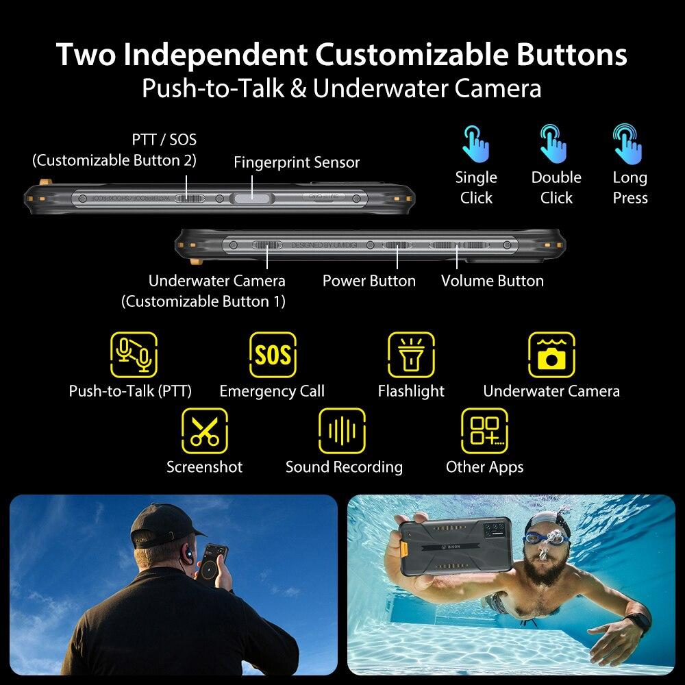 UMIDIGI BISON IP68/IP69K Waterproof Smartphone Rugged Phone 6/8GB+128GB NFC 48MP Matrix Quad Camera 6.3