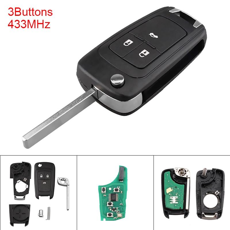 434MHz 3 Tasten Keyless Uncut Flip Remote Key Fob mit ID46 Chip für 2010-2015 Astra J/2014-2016 Corsa E/2009-2015 Insignia