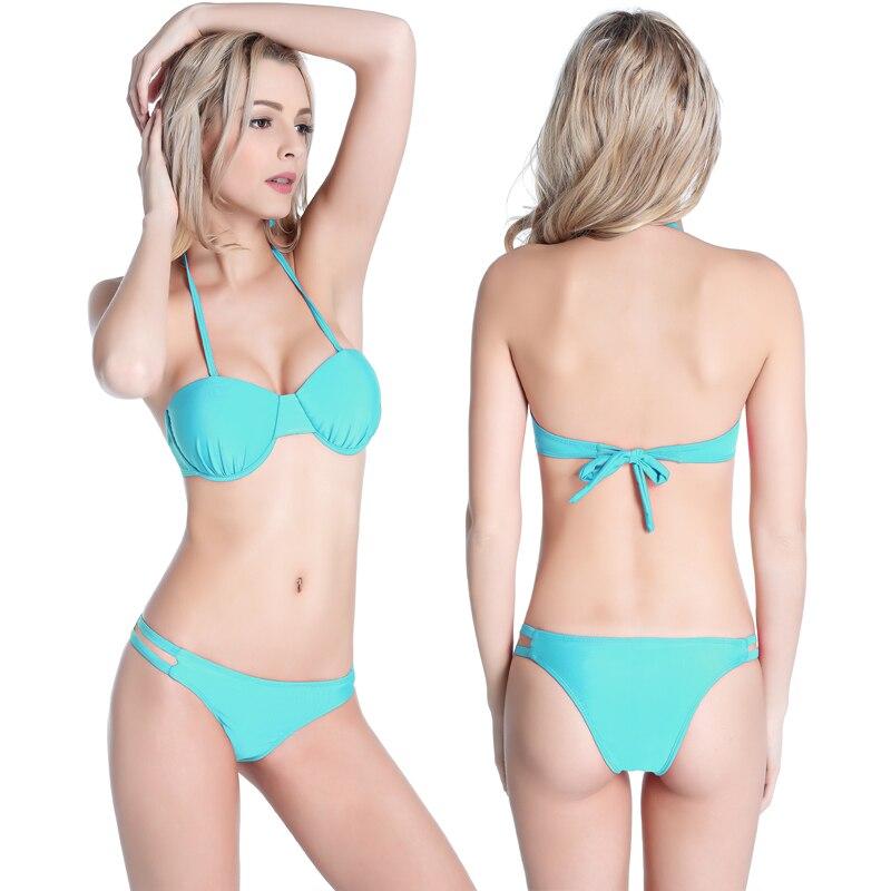 Nueva llegada Copa conjunto de Bikini con aros totalmente forrado trajes de baño 2019 venta al por mayor mujeres maduras traje de baño Sexy chica Bikini