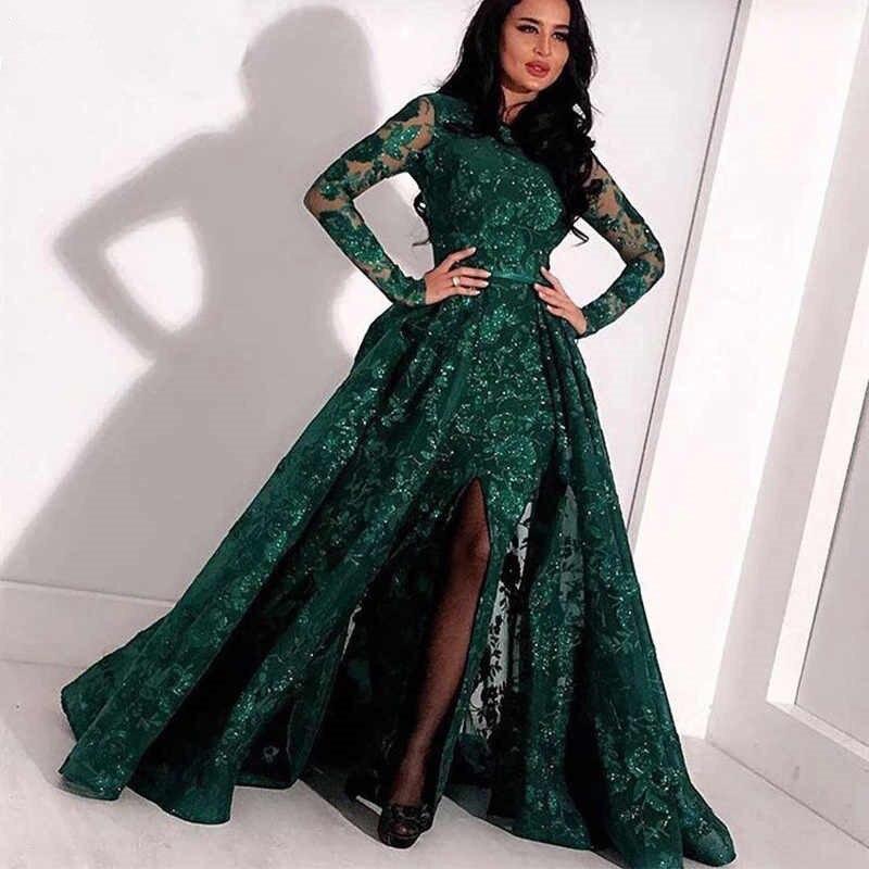 Vestidos de sirena al estilo de los famosos desmontable tren largo mangas de encaje apliques verde oscuro Formal accesorio de Noche Vestidos Fiesta de gran tamaño