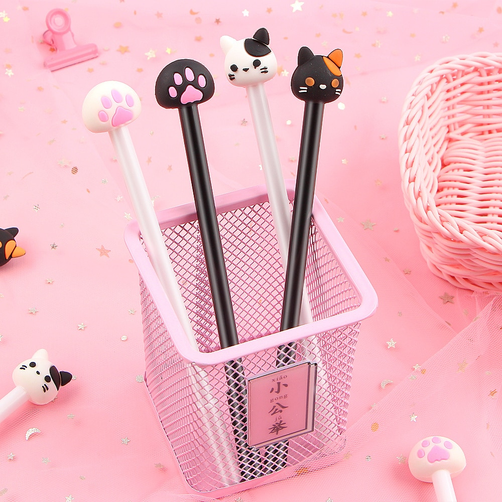 cute cat rabbit gel pens set kawaii stationery gel ink pens for kids gifts writing pen stationery caneta escolar school supplies 4Pcs/Lot Kawaii Cat Gel pen Lovely Claw black ink Pens For Writing Stationery Office School Supplies Canetas escolar