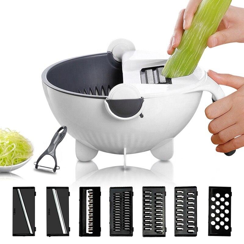 Cortador de verduras multifuncional 9 en 1 con escurridor accesorios de cocina pelador de patatas cebolla zanahoria rallador rebanador de vegetales