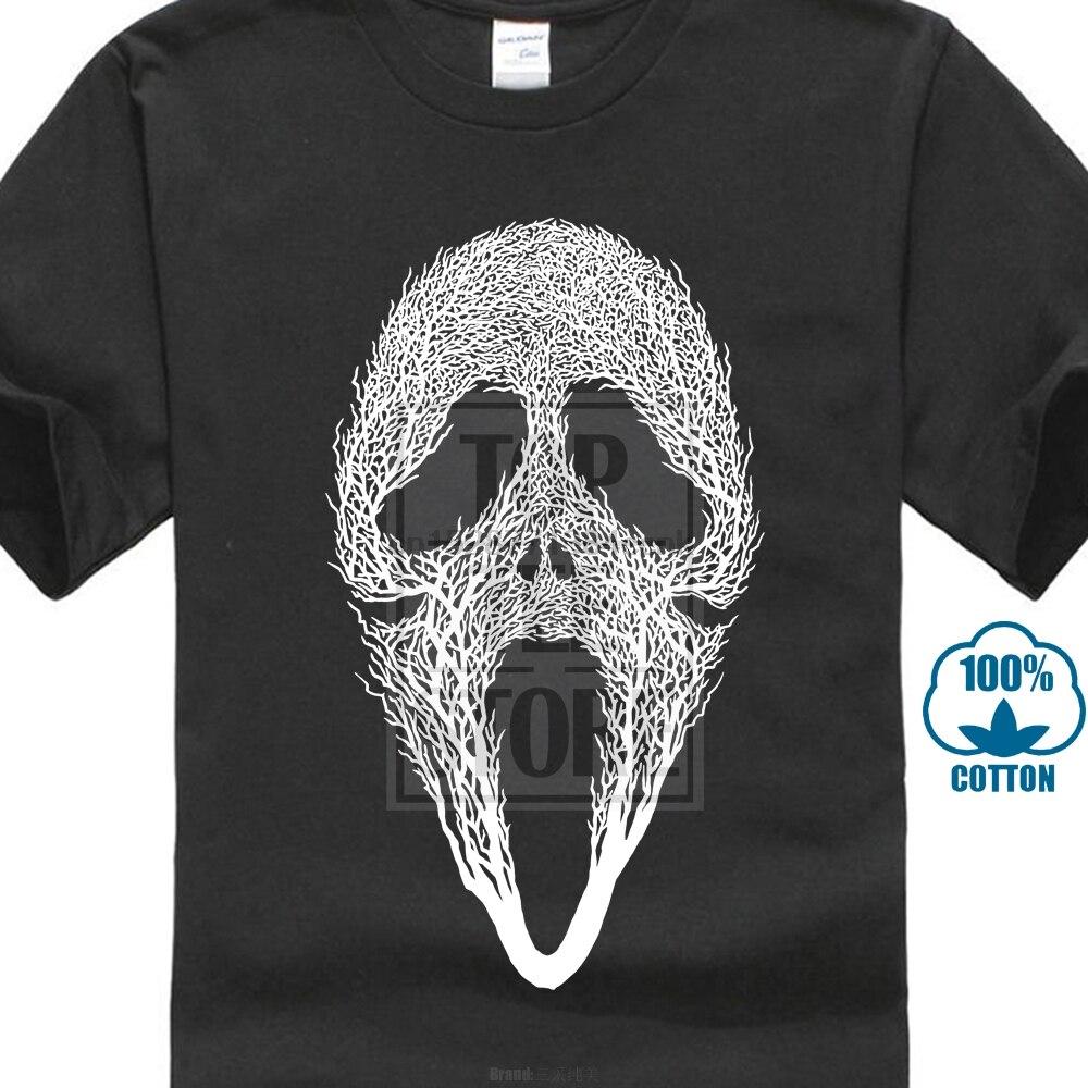 Wielka wyprzedaż krzyczeć drzewo czaszka Tshirt Horror maska czaszki druku koszulki z krótkim rękawem dla mężczyzn na zamówienie niesamowite stworzyć projekt koszulki