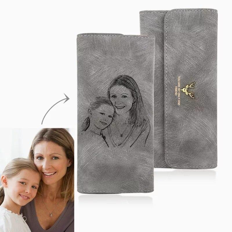 Женский Длинный кошелек на заказ с выгравированным изображением, кошелек на заказ, подарок на день матери, персонализированный подарок на д...