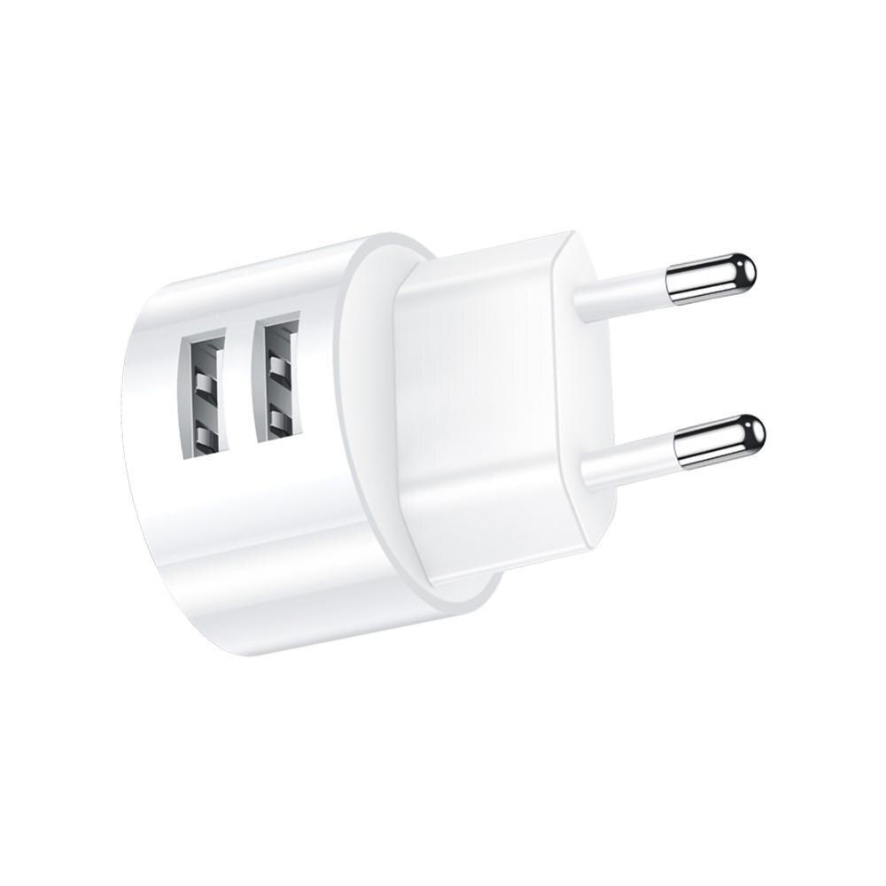 Cargador de pared USB redondo de doble puerto portátil de viaje enchufe de carga cubo adaptador de corriente para Smartphones Tablets portátiles MP3 MP4