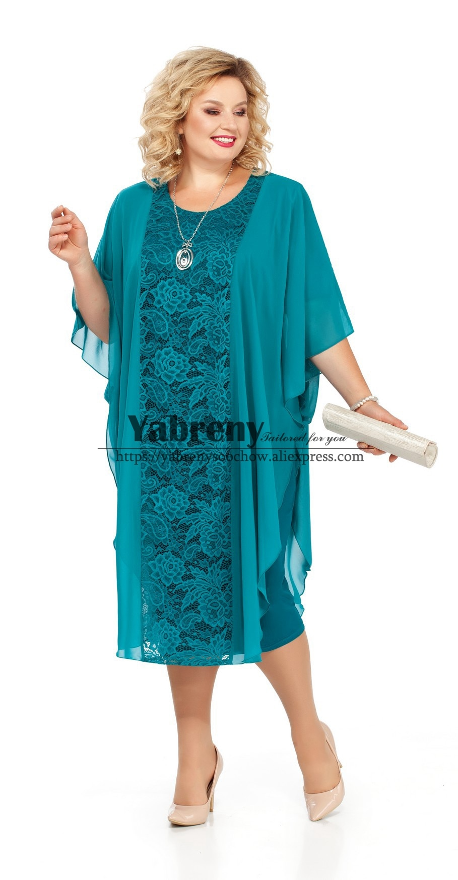 New arrival Plus size Mother of the bride dress Green Lace