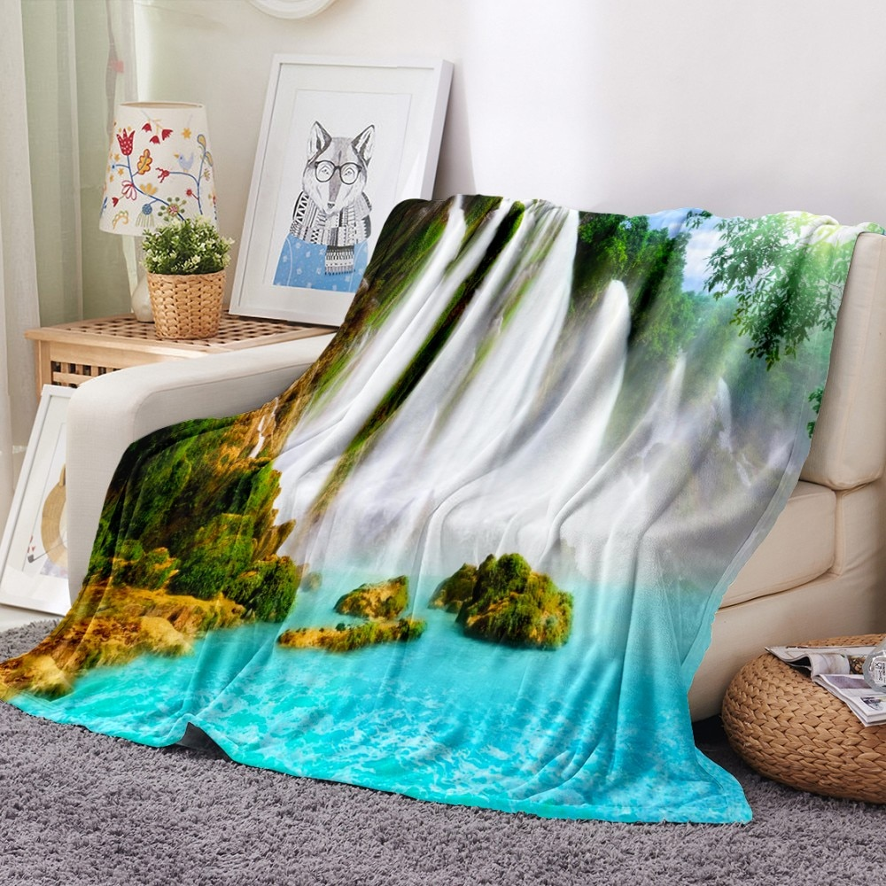 جميلة المشهد الفانيلا بطانية شلال الصوف بطانية لغرفة النوم رمي بطانية المنزل بطانية السفر نزهة بطانية رقيق