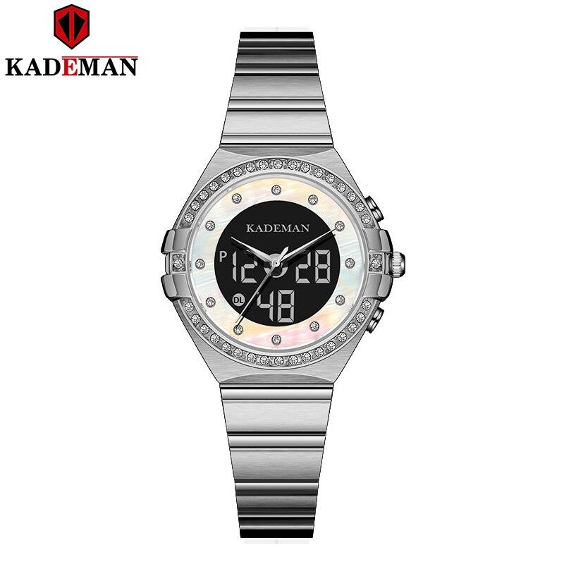 New Kademan Fashion Women Watch LED Digital Dual Display Quartz Stainless Steel Waterproof Dress Wristwatch Relogio Feminino