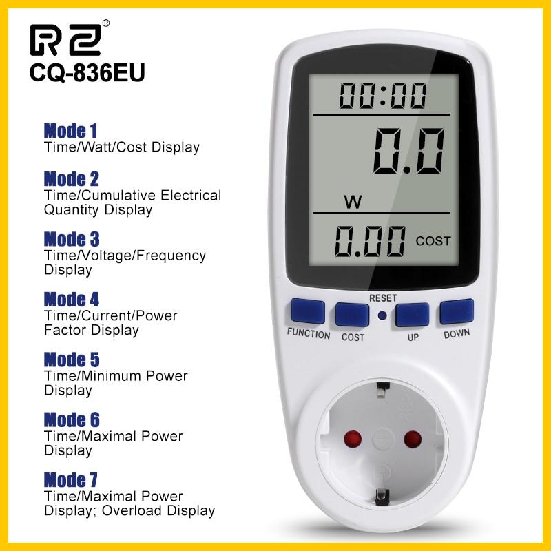 Medidor de potencia RZ AC 230V medidor de potencia Digital Wattmeter consumo Watt Monitor medición potencia de salida analizador