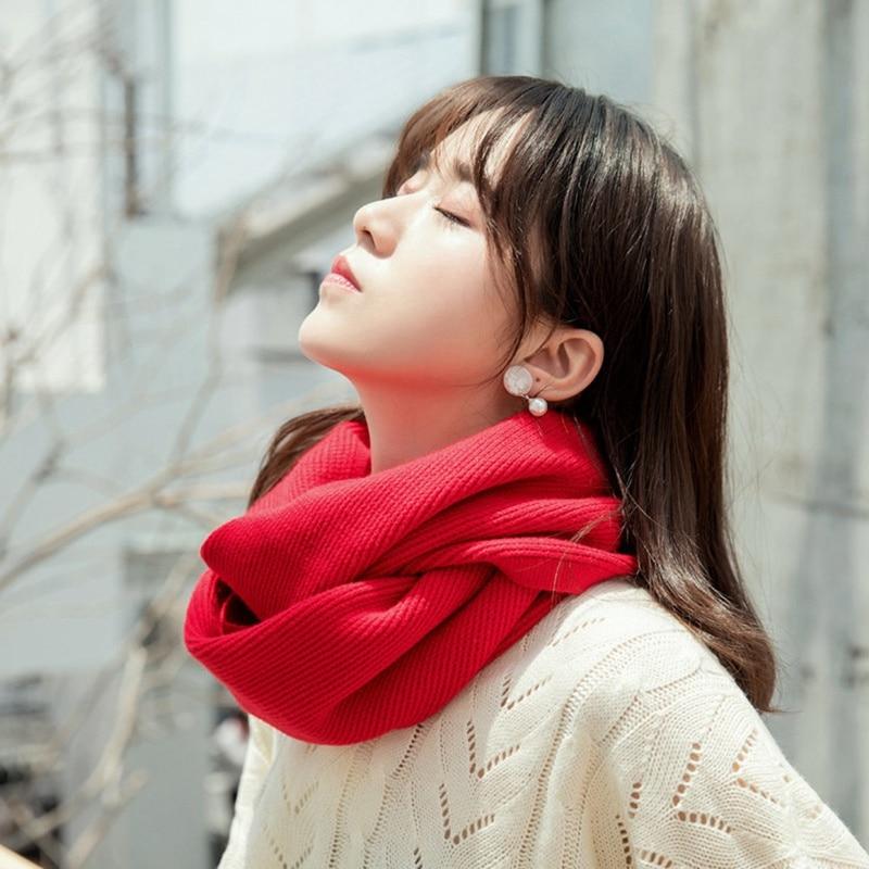 Bufanda de punto acanalada para mujer, anillo de moda, cuello de cachemir, cuello de capucha, bufandas de lazo para mujer, tejido de primavera para mujer