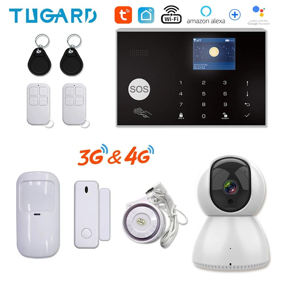 Tugard Tuya 433MHz Wifi 3G 4G Home Burglar Security Alarm System,Apps Control Wireless Alarm Kit With Ptz IP Camera Baby Monitor