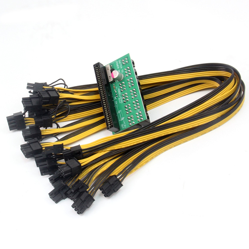 12 فولت GPU / PSU لوحة القطع Ethereum ETH ZEC التعدين خادم موائم مصدر تيار بطاقة 18AWG PCI-E 9 x 6Pin + 1 x 4Pin واجهة
