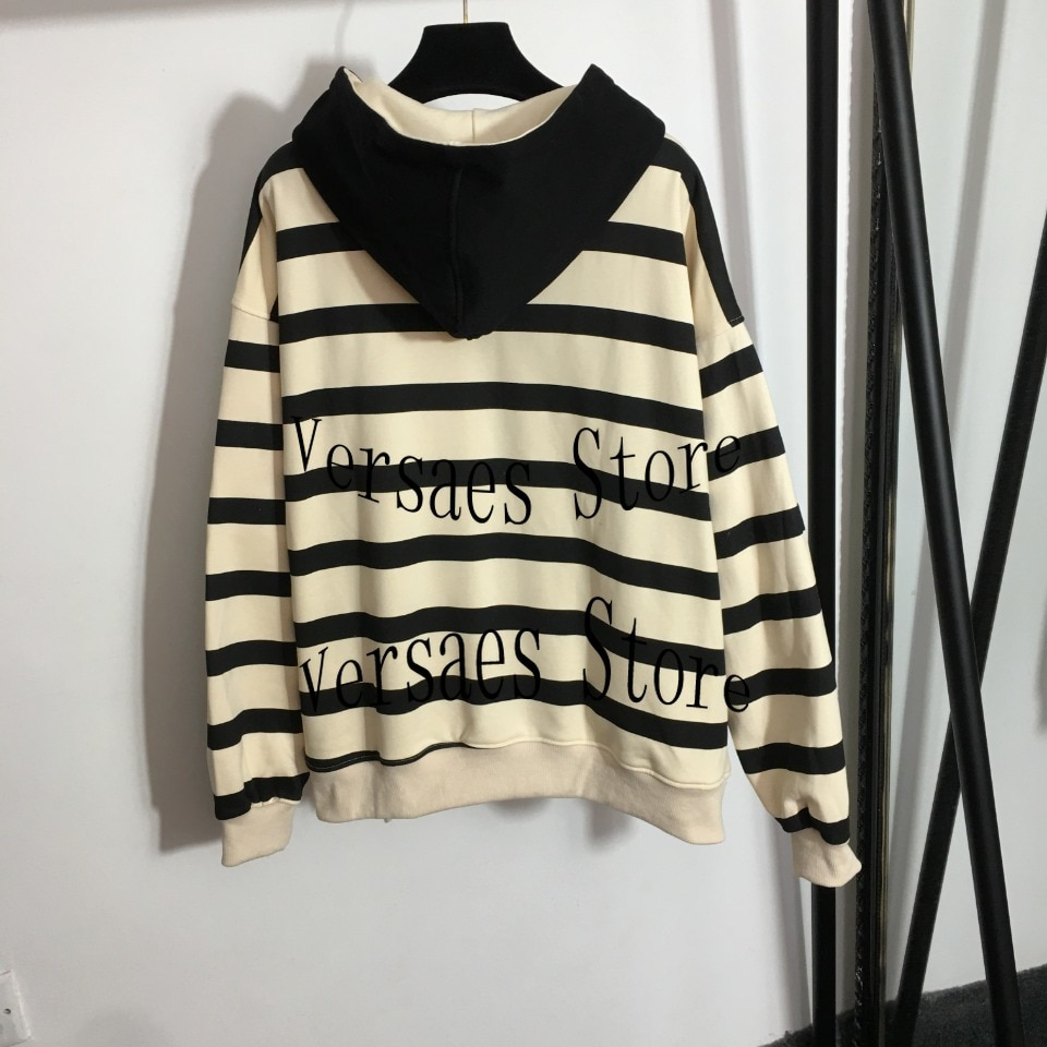2021 luxury design high-end embroidered letters fashion women's long sleeve zipper cardigan temperament versatile striped Hoodie enlarge