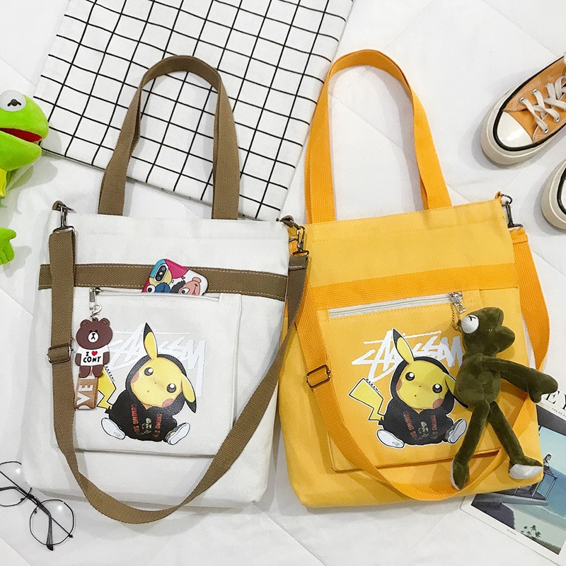 PURFAY bolso de hombro de lona de dibujo de Pokémon para mujer, bolso de algodón, bolso de compras Eco reutilizable, bolso de compras, bolso de mano de tela mensajero