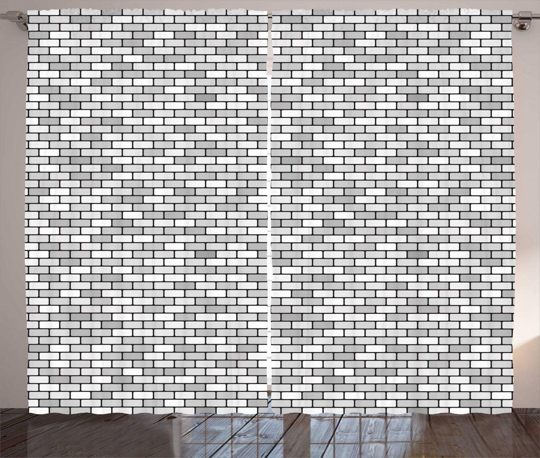 Cortinas blancas y grises de color gris claro, elementos de construcción de pared de ladrillo, rectángulos redondeados, cortinas de ventanas para sala de estar